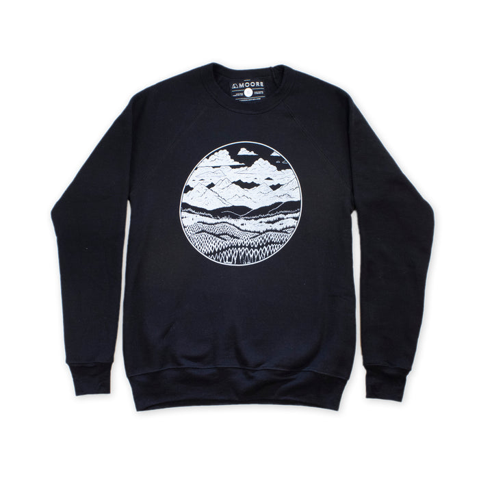 Mountain Range Crewneck-Black