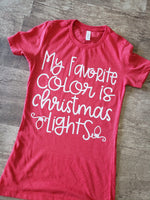 My favorite color is Christmas lights screen print transfers