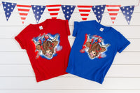 YOUTH Patriotic Shaggy Cow HIGH HEAT screen print transfer
