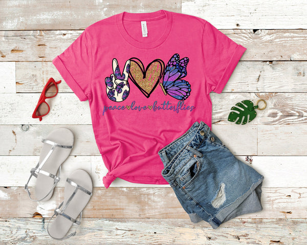 Peace love butterflies YOUTH screen print transfers RTS