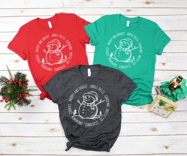 Circle snowman Merry and bright screen print transfer