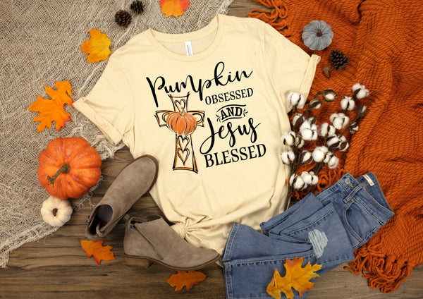 Pumpkin obsessed and Jesus blessed screen print transfer