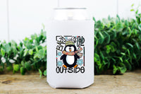 Baby it's cold outside penguin HIGH HEAT KOOZIE screen print transfer