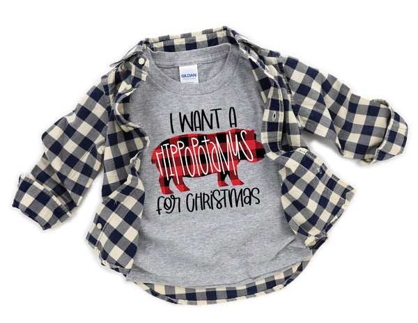YOUTH BUFFALO PLAID  I want a Hippopotamus for Christmas HIGH HEAT screen print transfer