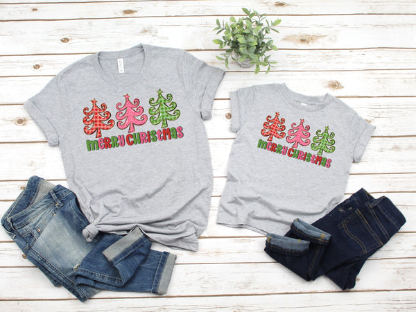 Adult Merry Christmas trees(colorful) HIGH HEAT screen print transfer