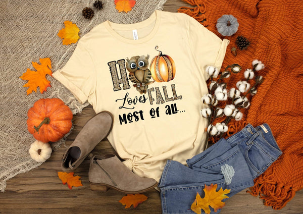 Hoo loves fall most of all HIGH HEAT screen print transfer