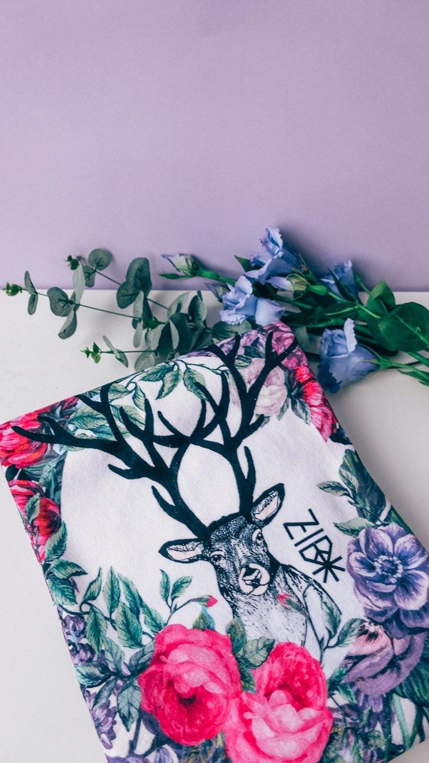 Beach towel Deer and roses - ZIB*