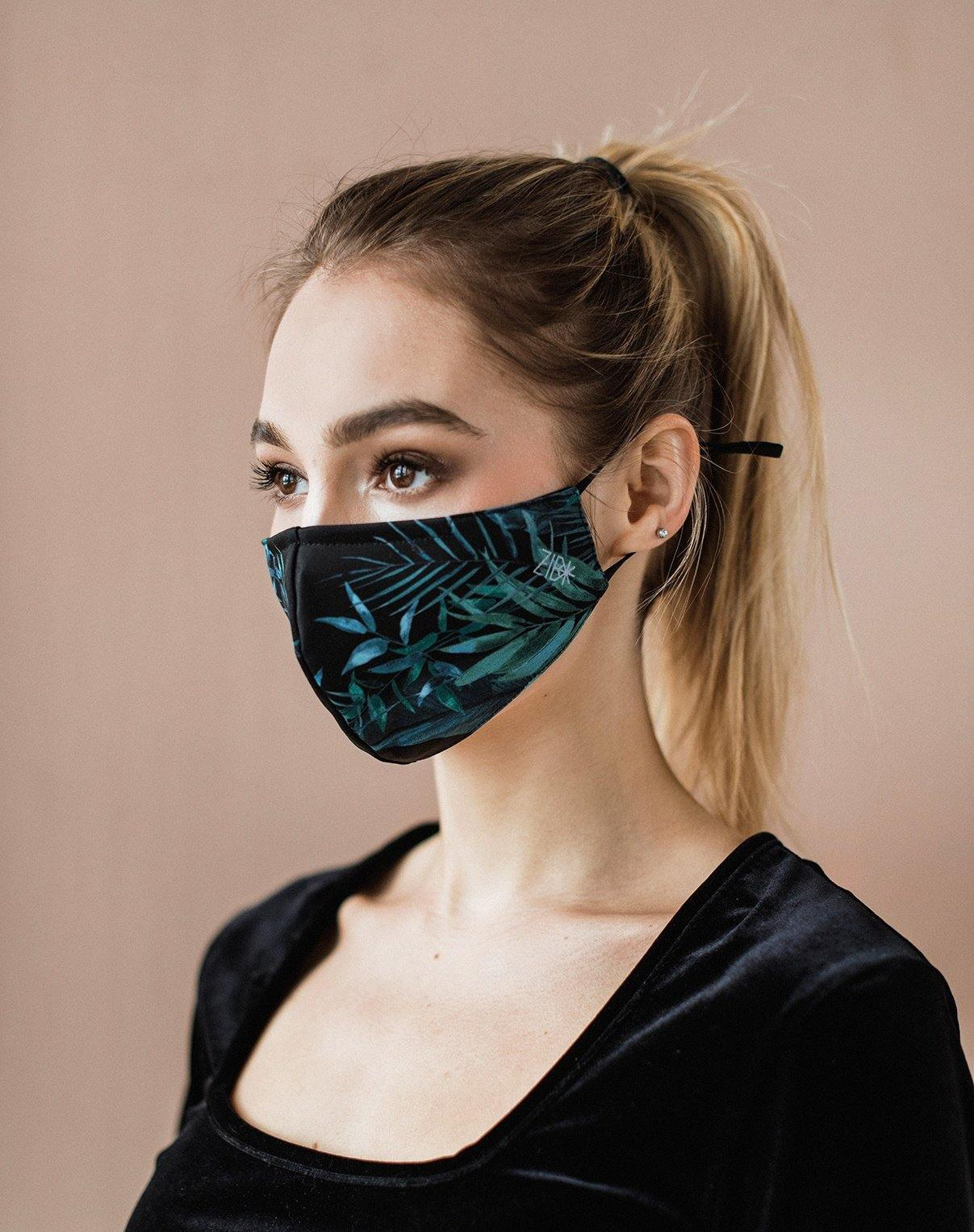 Face mask with nose bridge Leaves - ZIB*