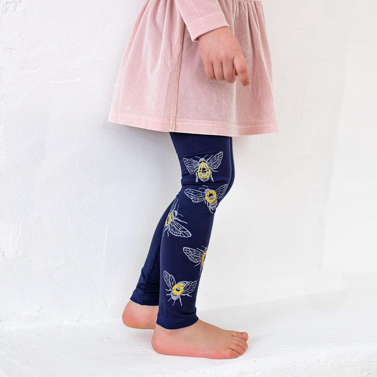 Navy KIDS leggings Crystal bees - ZIB*