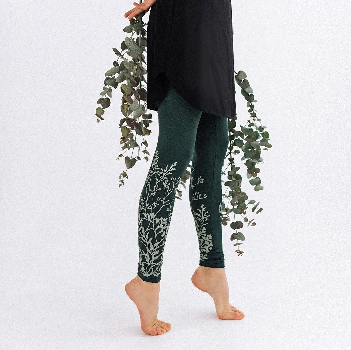 Green leggings for women Wild plants - ZIB*