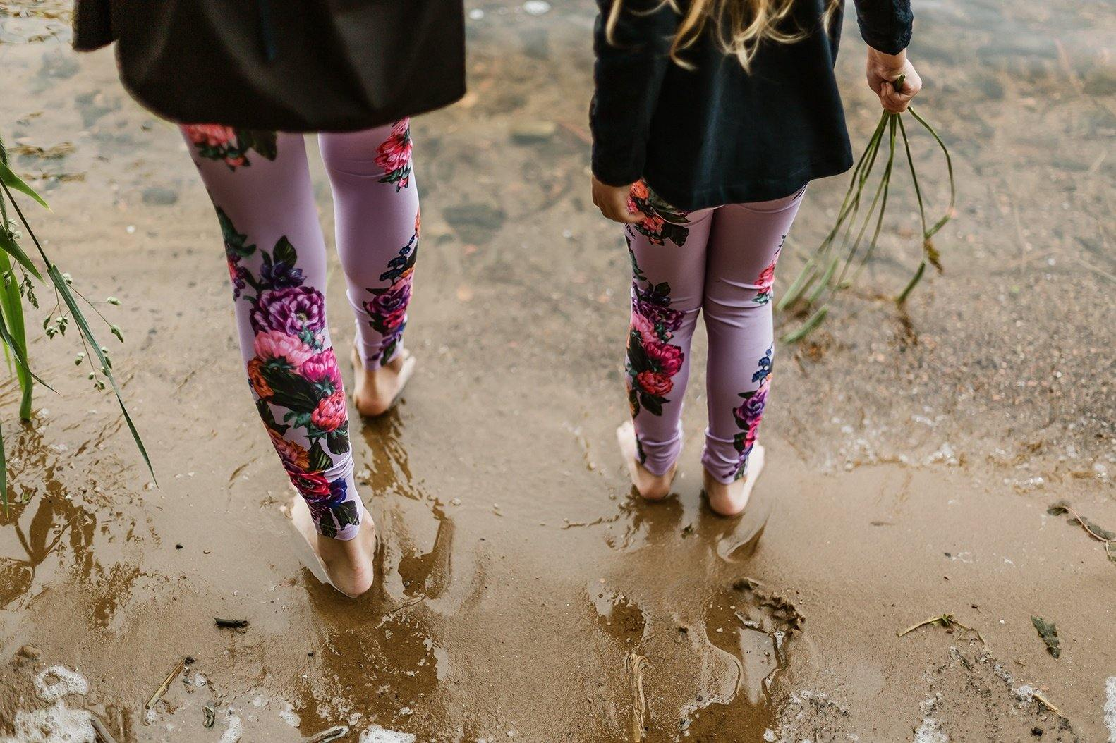 Printed leggings for girls Pink peonies - ZIB*