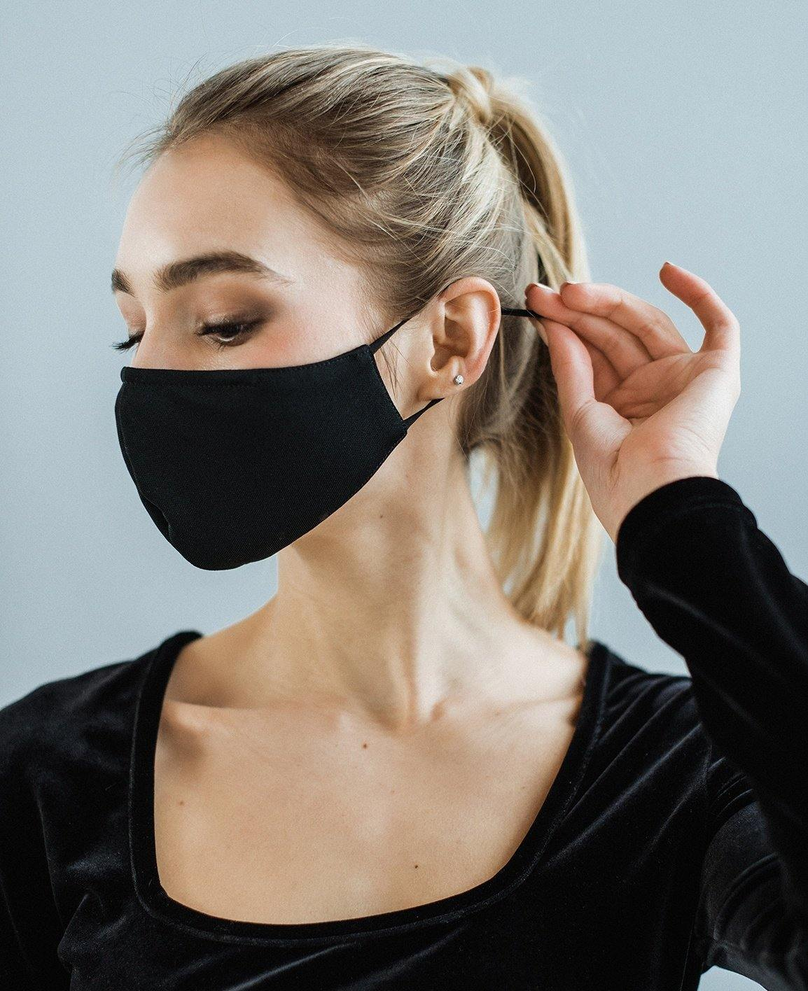 Black basic Face mask with nose bridge - ZIB*