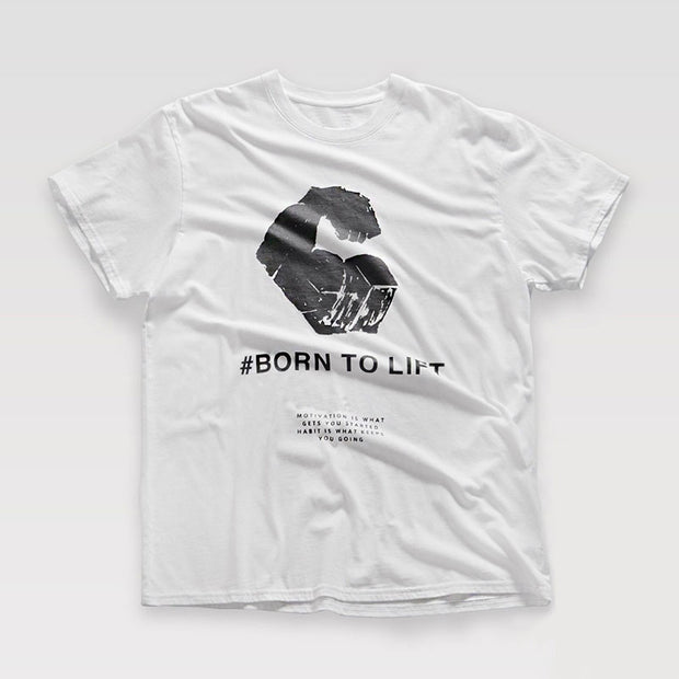T-shirt Born to Lift blanc