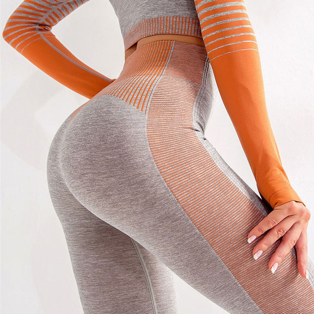 New horizon leggings orange coupe ajusté au corps