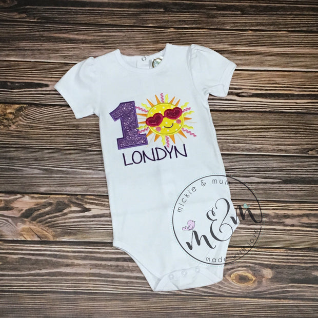 You are my Sunshine Shirt | First Birthday Outfit Girl | 1st Birthday Girl Shirt | Birthday Girl Outfit | Birthday Girl Shirt - Mickie and Mum Personalized Baby Outfits