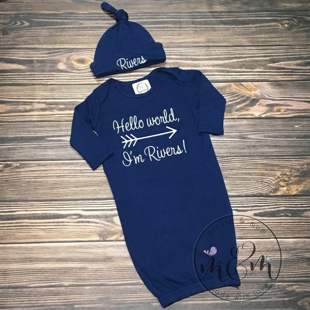 Hello World Outfit - Baby Boy Coming Home Outfit - Mickie and Mum Personalized Baby Outfits