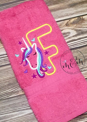 Unicorn Hand Towel | Single Hand Towel | Embroidered Towels | Custom Kitchen Towels | Fun  Bathroom Towel | Unicorn Decor - Mickie and Mum Personalized Baby Outfits