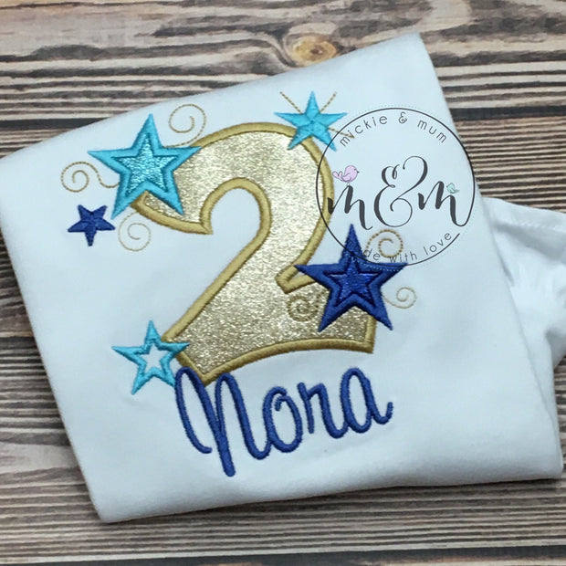 Twinkle Twinkle Little Star Birthday Outfit | Custom Star Birthday | First Birthday Outfit | Blue and Gold Birthday | Second Birthday Girl - Mickie and Mum Personalized Baby Outfits