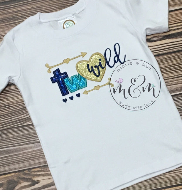 Two Wild Birthday Outfit | Second Birthday Outfit Boy | Second Birthday Outfit | Blue and Gold Birthday | Second Birthday Shirt - Mickie and Mum Personalized Baby Outfits