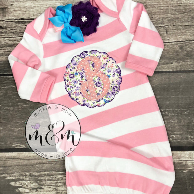 Little Sister Gown | Welcome Home Outfit | Baby Girl Layette | Baby Sister | Hello World | Coming Home Outfit | Newborn Baby Girl Outfit - Mickie and Mum Personalized Baby Outfits