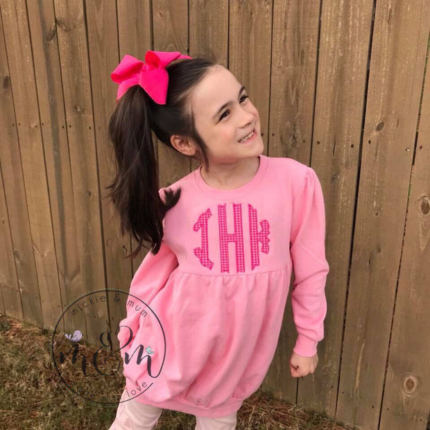 Monogrammed Sweatshirt | Monogrammed Shirt for Girls | Monogram Pullover | Monogrammed Hoodie - Mickie and Mum Personalized Baby Outfits