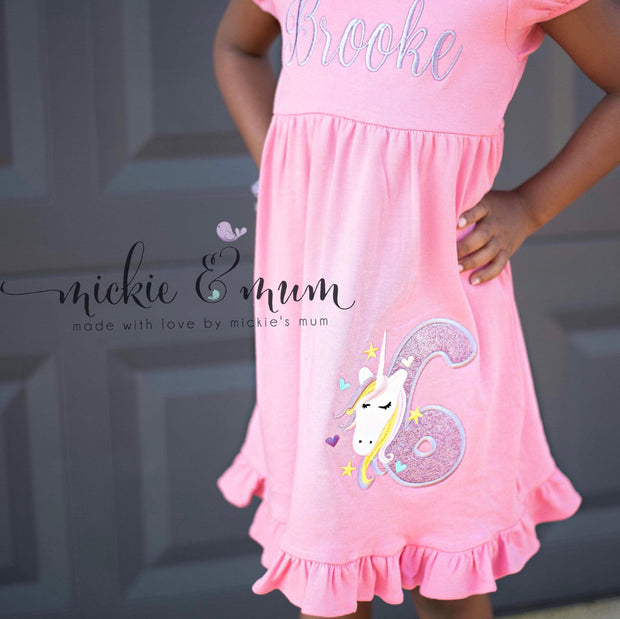 Birthday Girl Dress - Unicorn Dress - Unicorn Birthday Dress - Mickie and Mum Personalized Baby Outfits