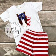Summer Shirt | Horse Outfit | Horse Birthday Shirt | 4th of July Shirt | Fourth of July Shirt | Farm Outfit | Made in the USA - Mickie and Mum Personalized Baby Outfits