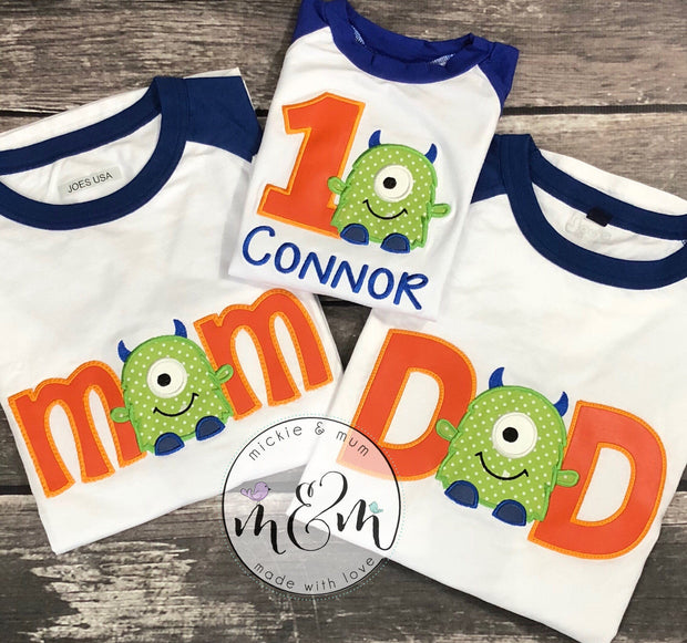 Monster Birthday | Matching Mom Shirt | Mom Shirt | Coordinating Birthday Shirts| Matching Dad Shirt | Wonder Woman Shirt - Mickie and Mum Personalized Baby Outfits
