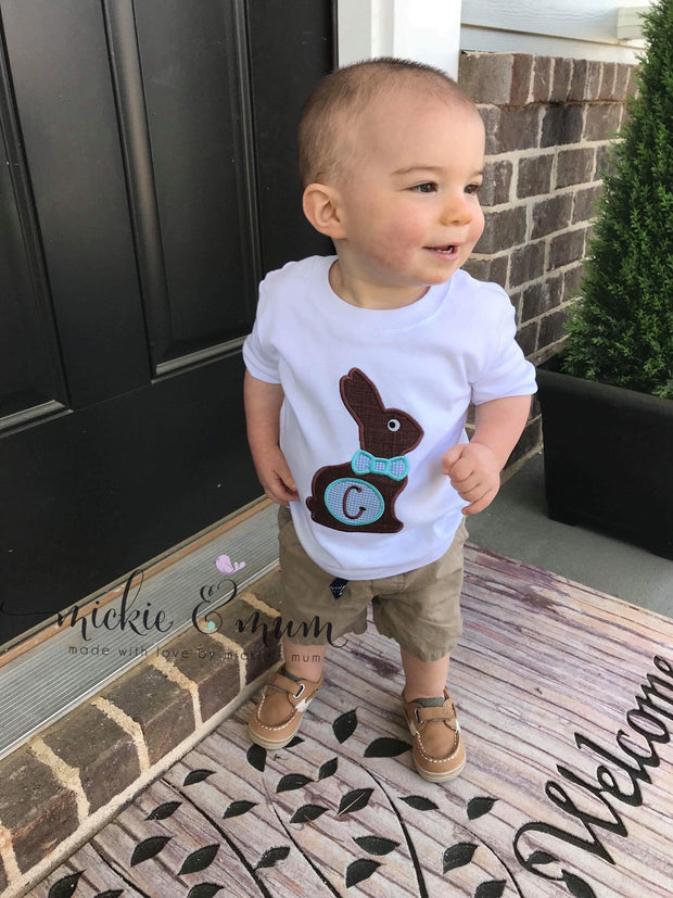 Easter Shirt for Boy - Chocolate Bunny Shirt - Mickie and Mum Personalized Baby Outfits