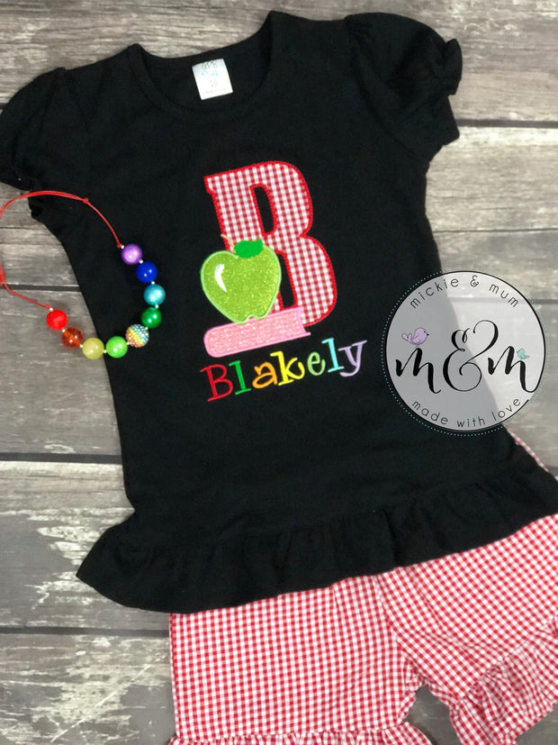 Back to School Shirt for Girl - First Day of School Outfit - Mickie and Mum Personalized Baby Outfits