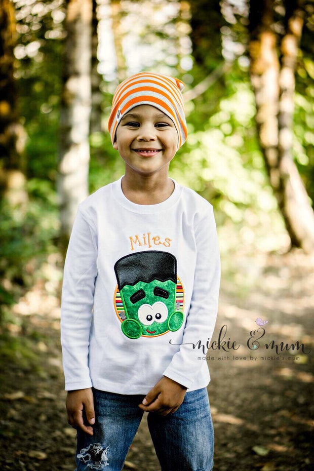Boy Halloween Shirt | Frankenstein Halloween Shirt | Halloween Shirt for Boys | Spooky Halloween Shirt | Fun Halloween Shirt | Frankenstein - Mickie and Mum Personalized Baby Outfits