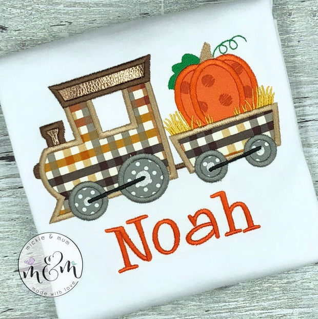 Pumpkin train shirt for boy, Fall  shirt for boy - Mickie and Mum Personalized Baby Outfits
