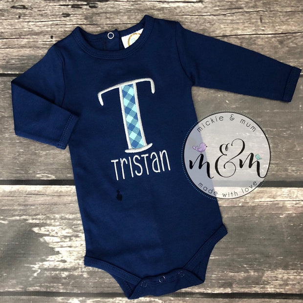 Baby Boy Monogrammed Outfit - Baby Boy Coming Home Outfit - Mickie and Mum Personalized Baby Outfits