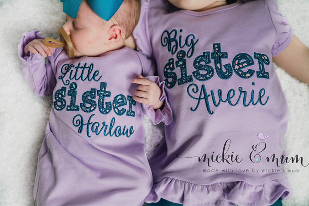Little sister shirt - Baby girl coming home outfit - Newborn girl outfit - Big sister shirt - Mickie and Mum Personalized Baby Outfits