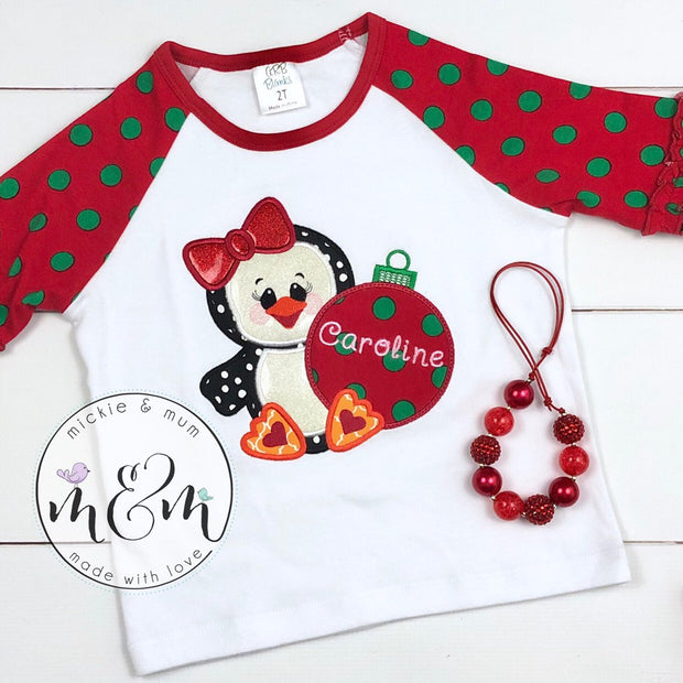 Christmas Shirt | Christmas Penguin Shirt | Winter Christmas Shirt | Monogrammed Christmas Shirt | Christmas Outfit | Penguin Shirt - Mickie and Mum Personalized Baby Outfits