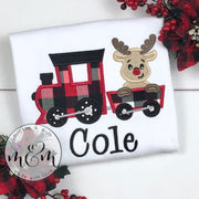 Santa Christmas Shirt | Christmas Train | Christmas Shirt | Monogrammed Christmas Shirt | Train Shirt | Reindeer Shirt | Christmas gift - Mickie and Mum Personalized Baby Outfits