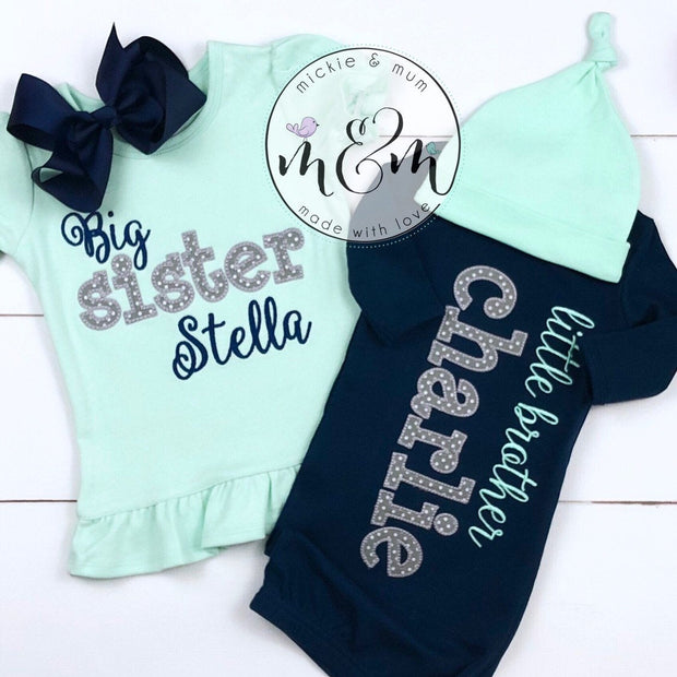 Baby boy coming home outfit - Navy and mint baby clothes - Mickie and Mum Personalized Baby Outfits