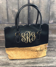 Scalloped Tote Bag | Scalloped Purse | Gift for her | Fun Gifts for Her | Monogrammed Bag | Mother's Day Gift | Birthday gift for Her - Mickie and Mum Personalized Baby Outfits