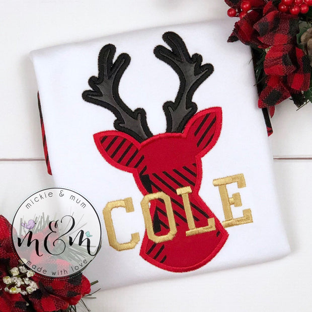 Deer Christmas Shirt | Christmas Shirt | Reindeer Christmas Shirt | Monogrammed Christmas Shirt | Buffalo Plaid Shirt | Doe Shirt - Mickie and Mum Personalized Baby Outfits