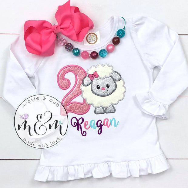 Lamb Birthday Shirt - Birthday Girl Shirt - Mickie and Mum Personalized Baby Outfits