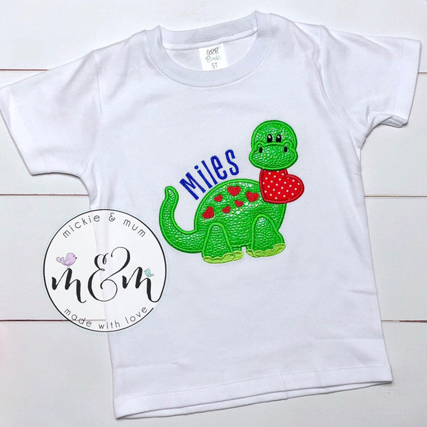 Dinosaur Valentine's Day Shirt - Boy Valentine's Day Shirt - Mickie and Mum Personalized Baby Outfits