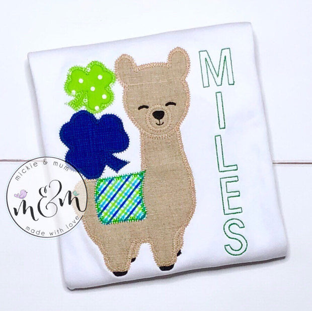 St. Patrick's Day Shirt for Boy - Lucky Llama Shirt - Mickie and Mum Personalized Baby Outfits