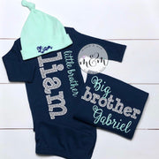 Little brother outfit | Baby boy coming home outfit | Little brother shirt | Baby shower gift | Hello world shirt | Baby brother outfit - Mickie and Mum Personalized Baby Outfits