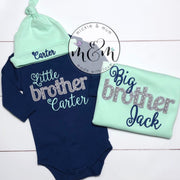 Little Brother Outfit - Welcome Home Outfit - Coming Home Outfit - Newborn Boy Outfit - Navy and Mint Baby Clothes - Mickie and Mum Personalized Baby Outfits