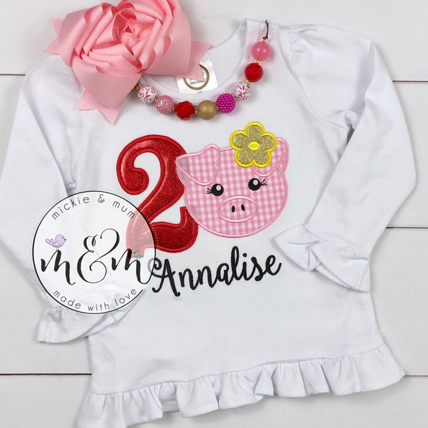 Pig Birthday Outfit | Pig Birthday Shirt | Two Year Old Birthday Shirt | Second Birthday Shirt | Farm Birthday Outfit Girl | Pig Shirt - Mickie and Mum Personalized Baby Outfits