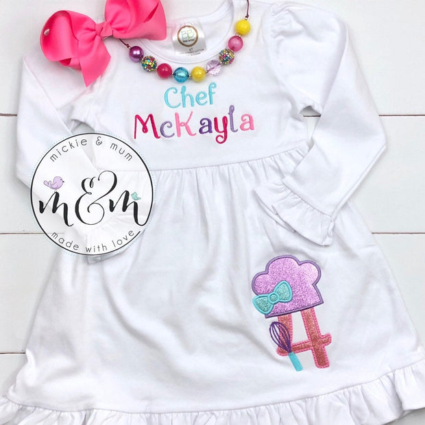 Birthday Girl Dress - Little Baker Dress - Mickie and Mum Personalized Baby Outfits