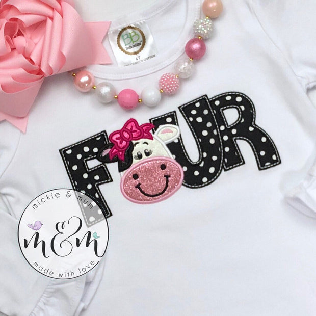 Moo Moo and TuTus Shirt - Birthday Girl Shirt - Cow Birthday - Mickie and Mum Personalized Baby Outfits