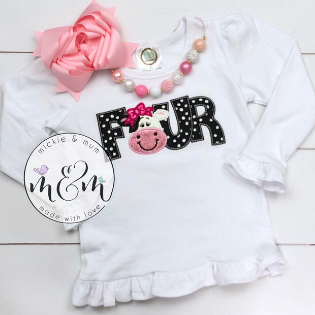 Moo Moo and TuTus Outfit | Cow Birthday Shirt | Four Year Old Birthday Shirt | Fourth Birthday Shirt | 4th Birthday Shirt Girl - Mickie and Mum Personalized Baby Outfits