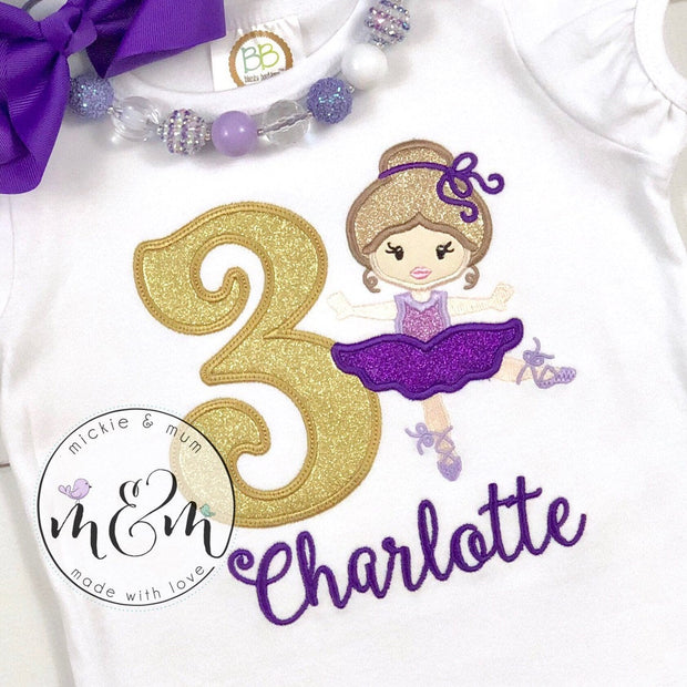 Birthday Girl Shirt - Ballerina Birthday Shirt - Mickie and Mum Personalized Baby Outfits