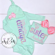 Little Sister Outfit - Welcome Home Outfit - Coming Home Outfit - Pink and Mint Baby Clothes - Mickie and Mum Personalized Baby Outfits